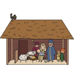 Christmas crib vector image