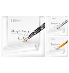 Fountain pen paper sheet vector image
