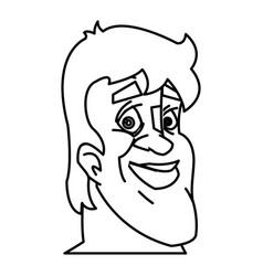 head man face sporting design line vector image