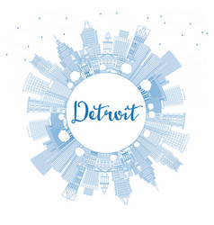 Outline detroit michigan usa city skyline with vector