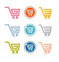 Shopping Cart Basket Web Symbols Icons Set vector image vector image