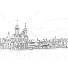 sketch of the lucerne embankment vector image vector image