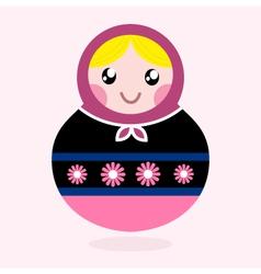 Traditional Russia doll Matrioshka - pink vector image