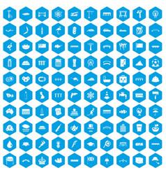 100 bridge icons set blue vector