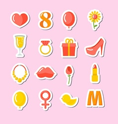 8 March set of icons Gifts for holiday Kiss and vector