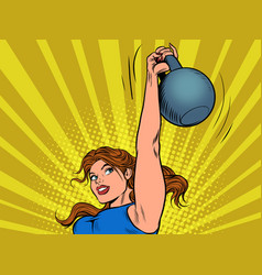 a strong woman lifts up a heavy weight vector image
