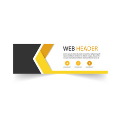 abstract web header arrow design yellow black back vector image