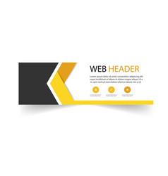 abstract web header arrow design yellow black back vector image