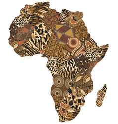Africa map traditional fabric wild animal skin vector