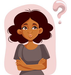 african woman having questions waiting for answers vector image
