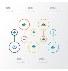 Air icons colored line set with freeze scale vector