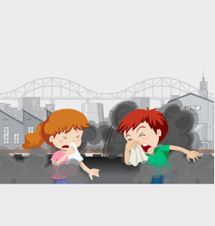 Air pollution with kids in city vector