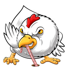 Angry chicken eating worm vector