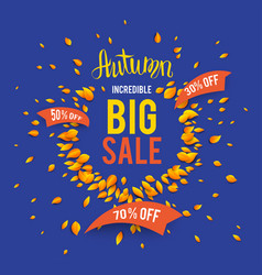 Autumn sale on blue vector