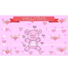 Bear background greeting card valentine vector