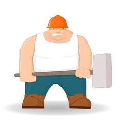 Big workman with hammer vector