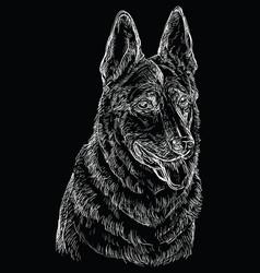 Black german shepherd hand drawing portrait vector