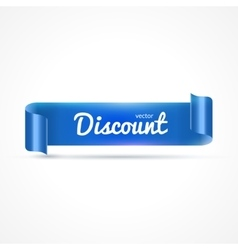 Blue realistic detailed curved paper banner vector image
