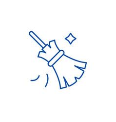 Broom line icon concept broom flat symbol vector