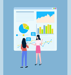 Business statistics charts female entrepreneurs vector