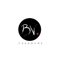 Bv handwritten brush letter logo design vector