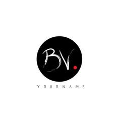 Bv handwritten brush letter logo design with vector