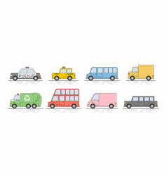 car icons set flat colors style vector image