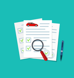 car insurance document check auto on paper vector image