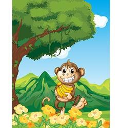 Cartoon Monkey banana vector image