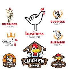 chicken theme logo set food business vector image
