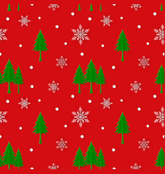 christmas tree with snowflakes seamless pattern vector image
