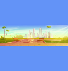 City park with benches flowerpot summer cityscape vector