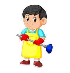 cleaning service holding plunger and wearing apron vector image