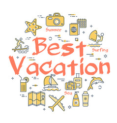 colorful icons in summer best vacation theme vector image