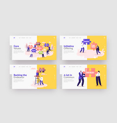 Core values landing page template set tiny vector