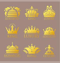 Crown king vintage premium golden badge heraldic vector