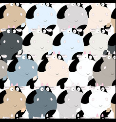 Cute cow carton seamless pattern vector