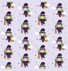 cute witch girl with fly broom seamless pattern vector image
