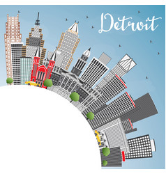Detroit michigan city skyline with gray vector