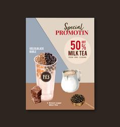 Double bubble milk tea set poster ad flyer vector