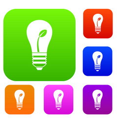 ecology idea bulb with plant set collection vector image