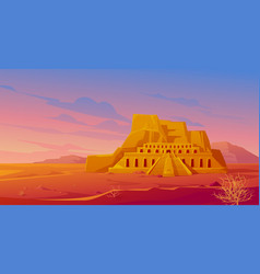 Egypt mortuary temple queen hatshepsut desert vector