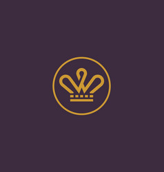 elegant crown logo tiara king line vector image