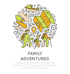 Family adventure and outdoor activities hand draw vector