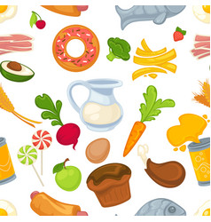 fast food and vegetables dairy products and pastry vector image