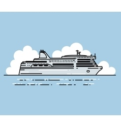 Ferry boat and clouds in linear stile vector