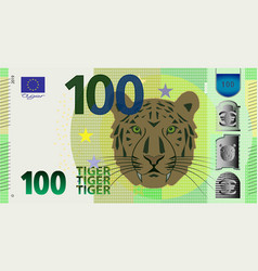 Fictional hundred denomination banknote and tiger vector