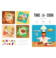 flat healthy food cooking infographic template vector image
