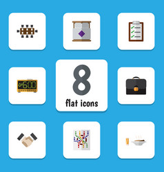 flat icon lifestyle set of briefcase router vector image