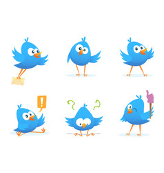 Flying blue birds in cartoon style vector